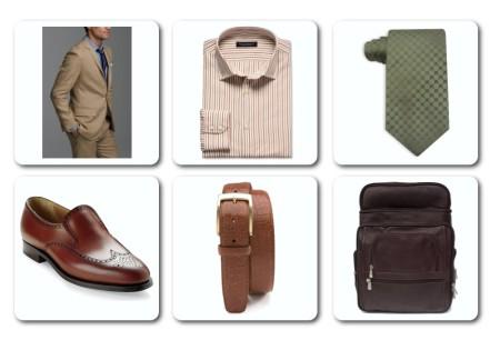 Suit, shirt, tie, shoes, belt and laptop bag