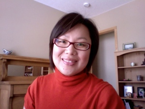 Me in a tomato-red turtleneck