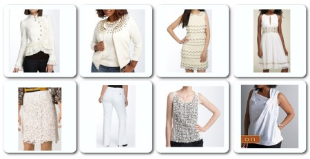 White tops, dresses, skirts and pants