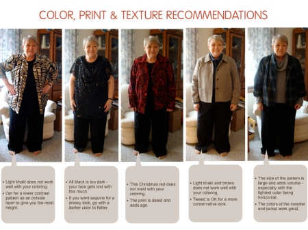More outfits, evaluating color, texture & print
